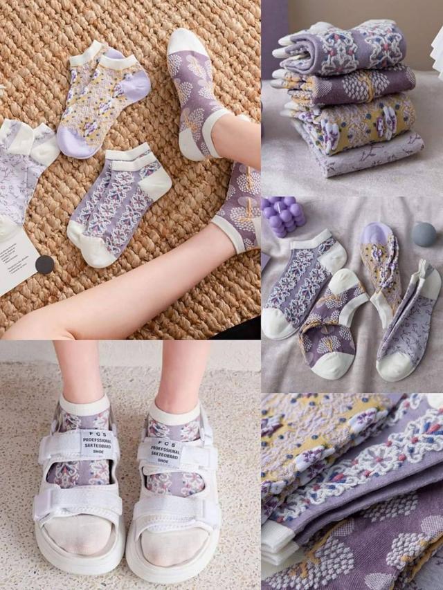 日單復古紫色小碎花短襪