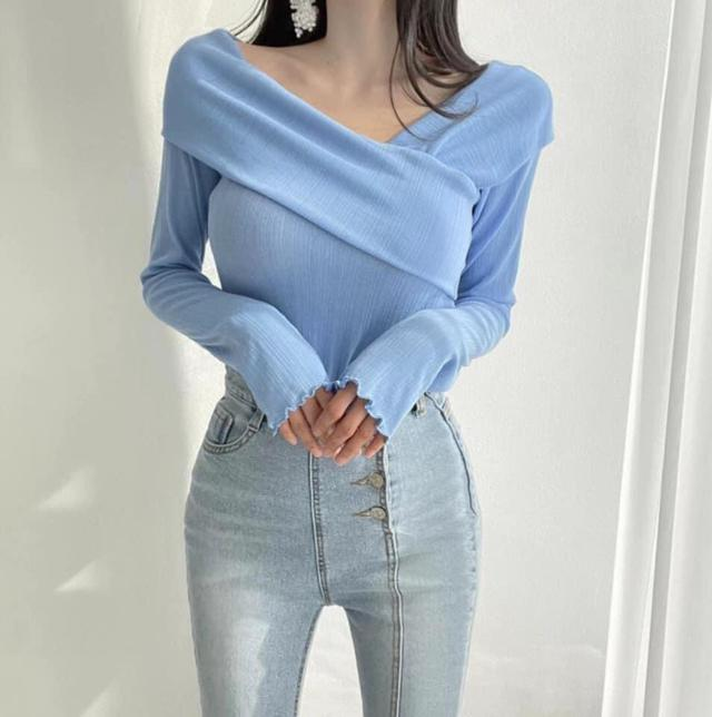 韓國坑條造型領上衣
