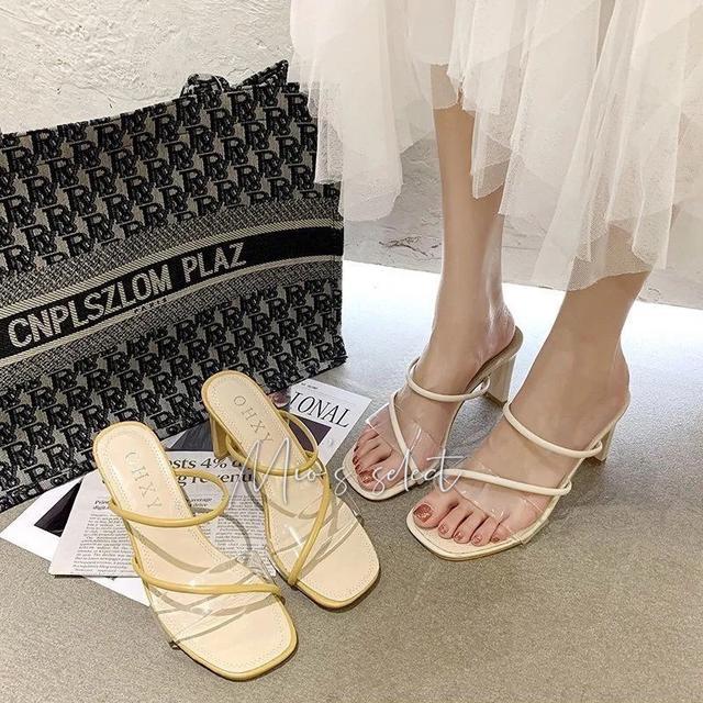 🌷Mio's春夏精選➰法式溫柔長腿性感單品紗裙高跟涼鞋透明一字羅馬高跟鞋粗跟涼鞋女鞋