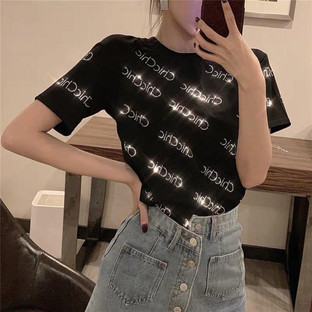 2019夏季新款韩版港味圆领chic风上衣打底衫宽松短袖烫钻T恤女装