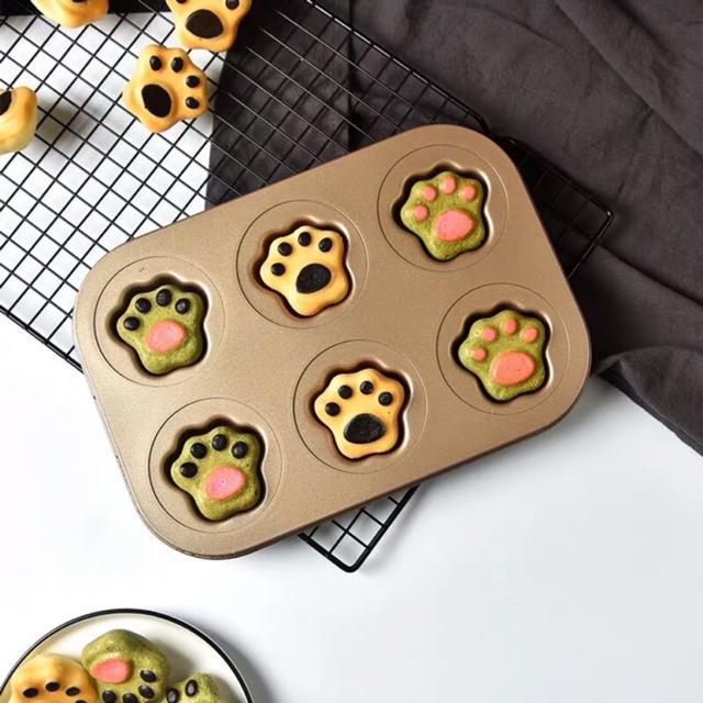 金色 防粘6連貓爪模具 爪子形餅乾模具 可愛卡通蛋糕模具 碳鋼貓爪