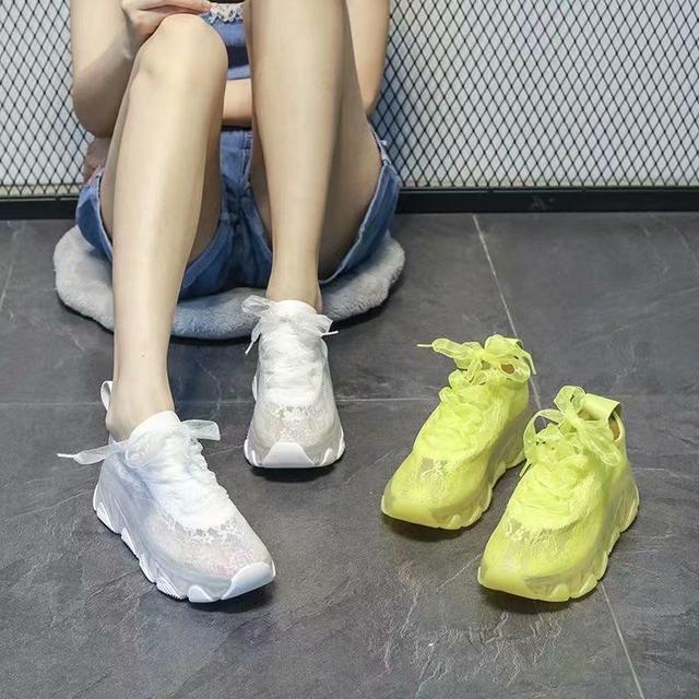 歐貨蕾絲網面小白鞋2020夏款透氣百搭厚底松糕休閒運動鞋女