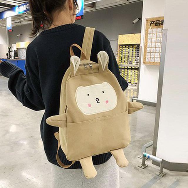 新款日韓ins少女帆布背包休閒大容量學生可愛雙肩書包(米)