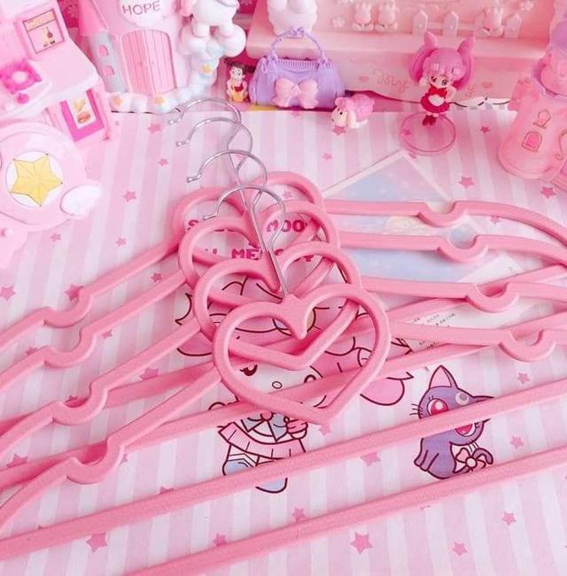 [雜貨店]💘*少女愛心蝴蝶結塑膠防滑衣架10入