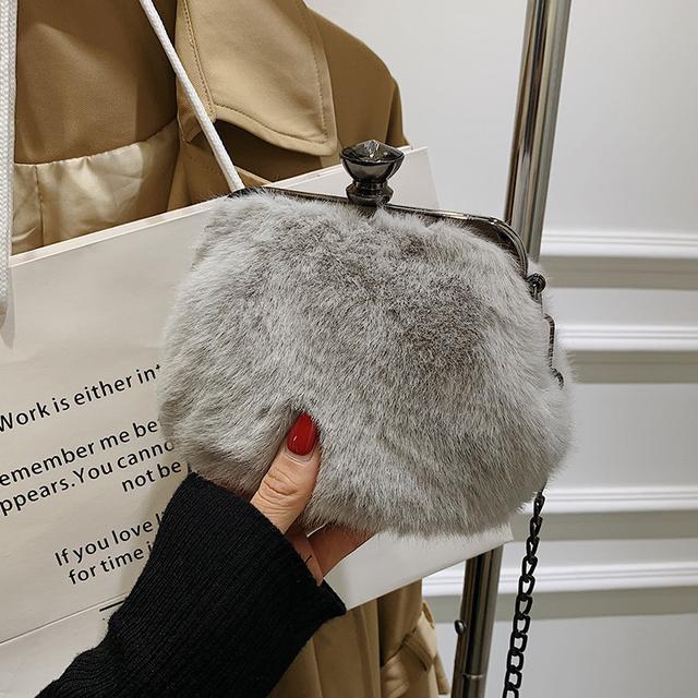 預購🦊秋冬季毛绒小包包2021新款鍊條斜挎包百搭毛包包(數量有限)