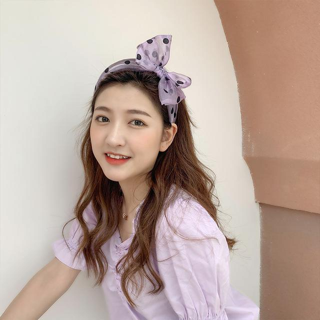 (預購)波点蝴蝶结髮箍女百搭外出髮卡韓國髮饰森系超仙髮箍
