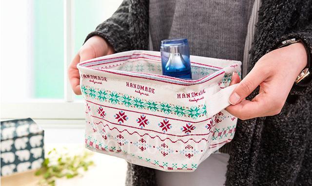可愛動物棉麻收納盒 (有提把) 清新桌面雜物籃