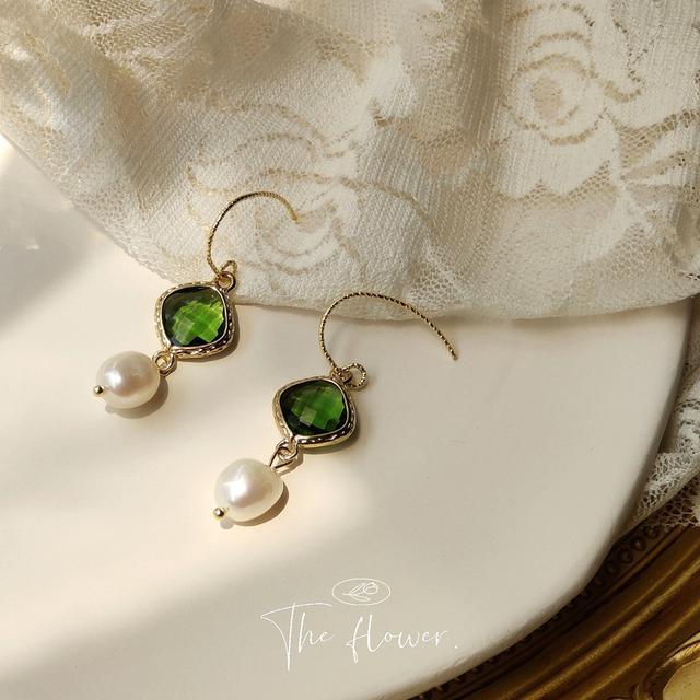 [宮廷雅致]玻璃水晶淡水珍珠手作設計感復古耳環女 漢服優雅耳飾