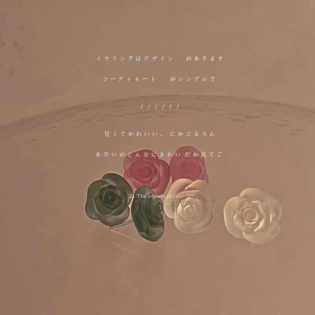 925銀針少女感花朵壓克力樹脂耳釘法式溫柔甜美氣質耳環耳飾