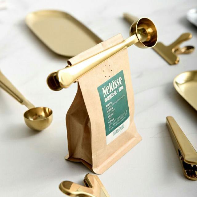 復古黃銅二合一咖啡夾勺