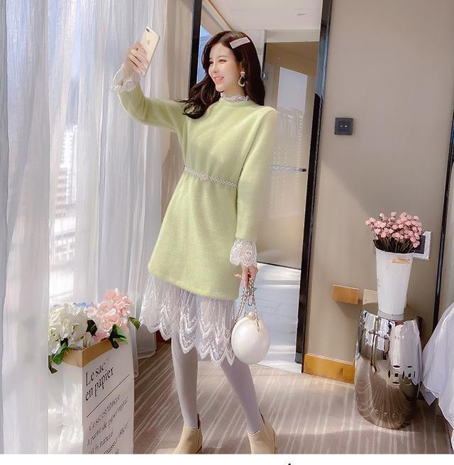 12/2 S-L 喇叭袖拼接蕾絲連衣裙 (2色)