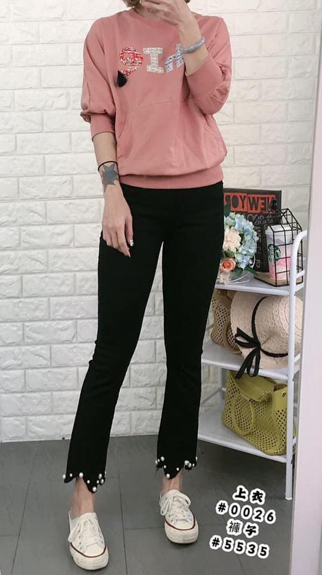 韓國釘珠微喇叭牛仔褲