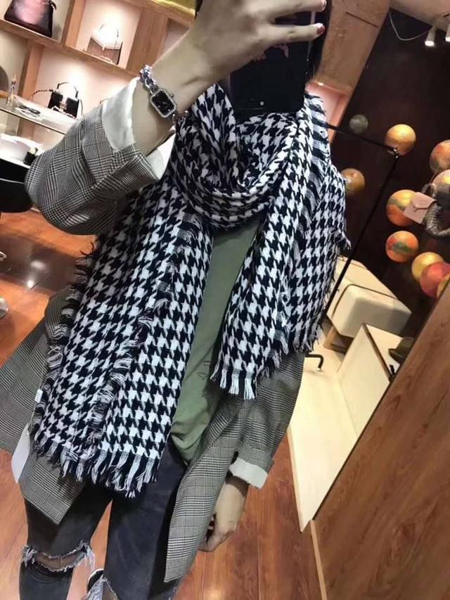 DIOR迪奧經典時尚百搭千鳥格中性披肩圍巾