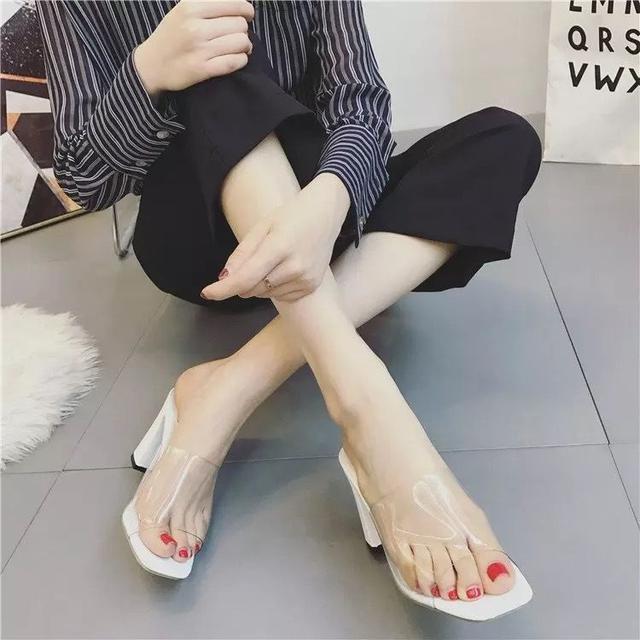 新款套趾糖果色一字拖細跟拖鞋