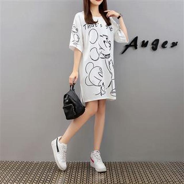 F50537 大碼裝寬鬆卡通T恤裙(單色)