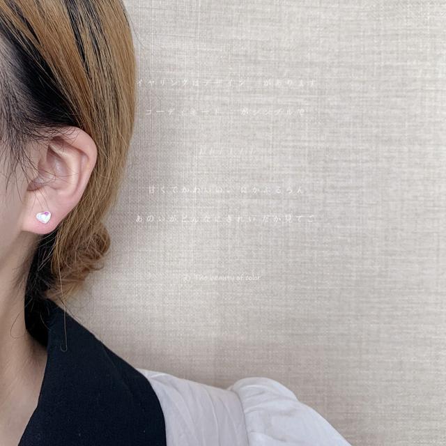 S925銀針炫彩愛心耳釘女日韓少女心簡約迷你睡覺不用摘耳飾