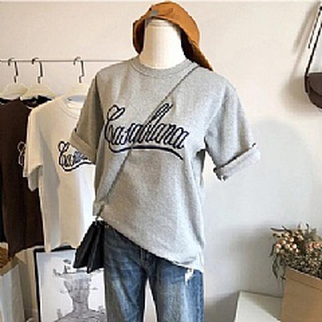 06732 東大門寬鬆純棉字母T恤(3色)