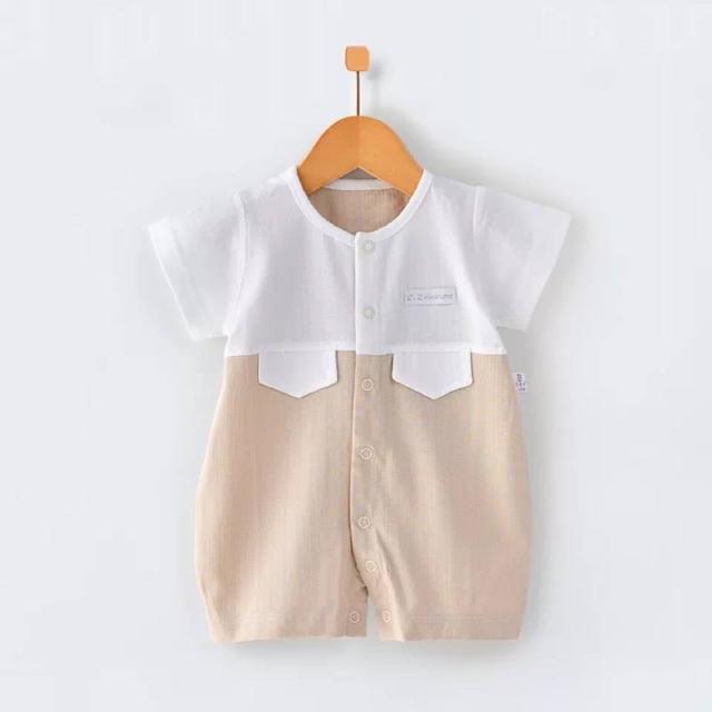 2020夏款嬰兒連體衣短袖封襠棉薄款男女寶寶爬服夏裝寶寶哈衣新生