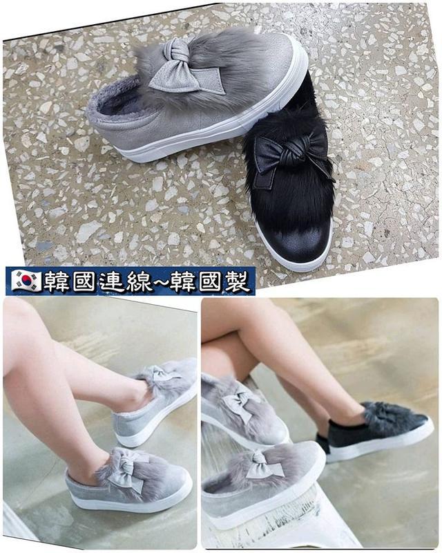 正韓製~可愛蝴蝶結麂皮內刷毛休閒鞋