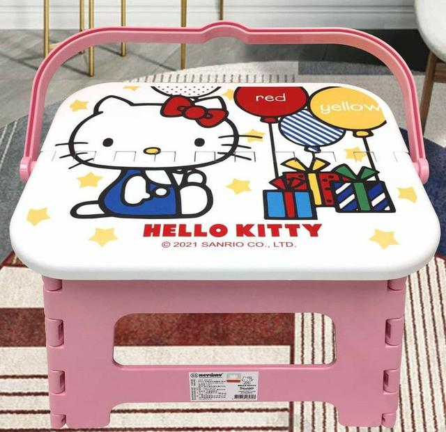 HELLO KITTY 三麗鷗 Sanrio 手提快收塑膠摺疊椅-氣球款