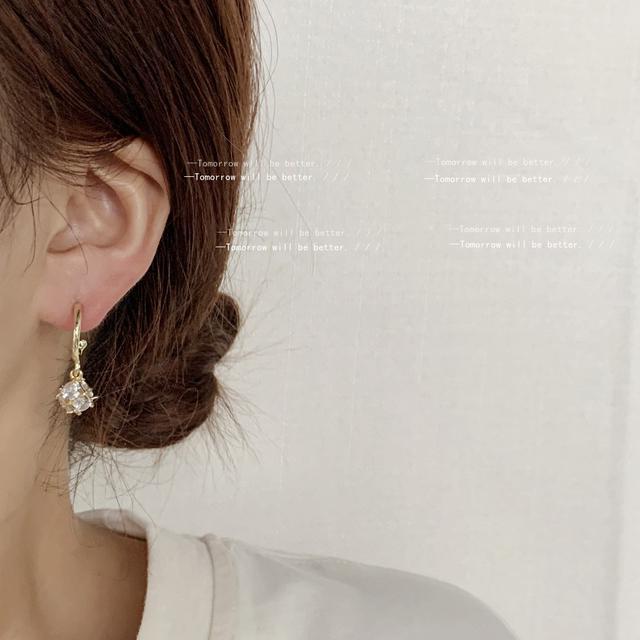 [布達拉宮殿]立體多面鋯石微鑲925銀針鍍14K日韓IG耳環 耳釘耳飾