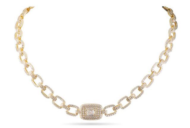 Loren - 密鑲閃耀方鑽項鍊 - 金色