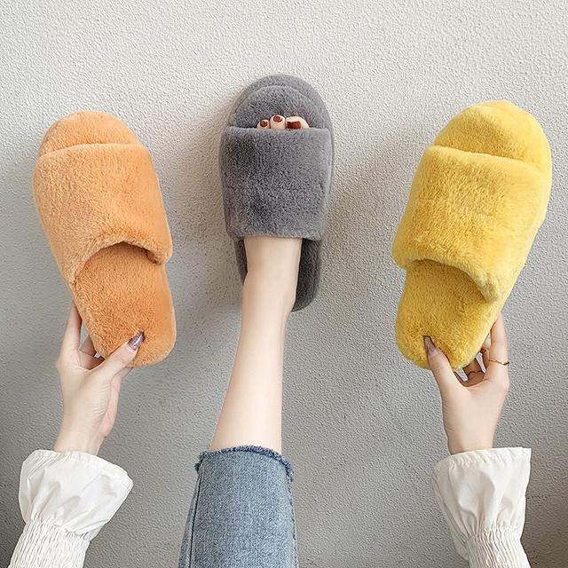 預購-棉拖鞋女冬季保暖居家ins可愛網红厚底毛毛绒拖鞋(卡)