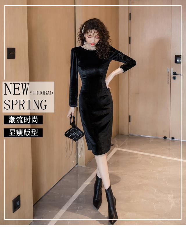 11 S-XL 韓版 法式v領金絲絨水鑽連衣裙