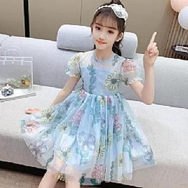 優質童裝(110-160) 公主亮絲紗裙大花連衣裙(2色)