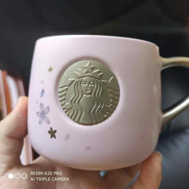 星巴巴限定版 粉色櫻花款銅章馬克杯