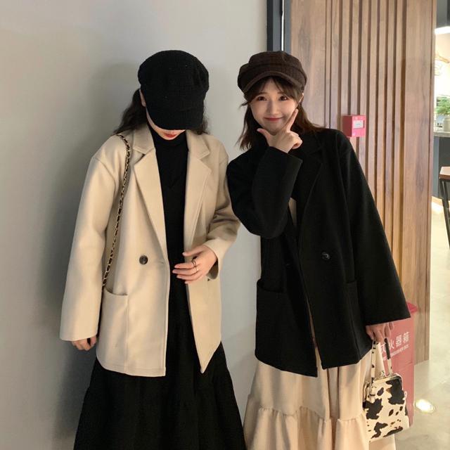 11/20 簡約寬鬆毛呢中長款西裝外套(2色)