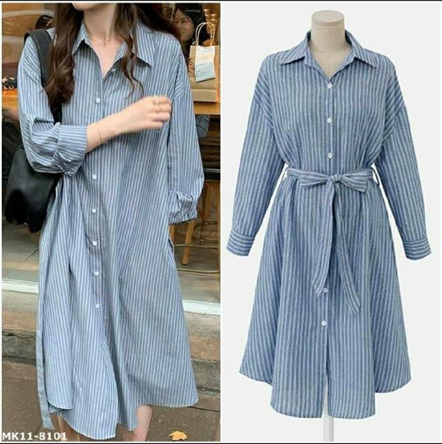 MK11-8101 胖MM大碼條紋繫腰帶兩穿長袖襯衫裙