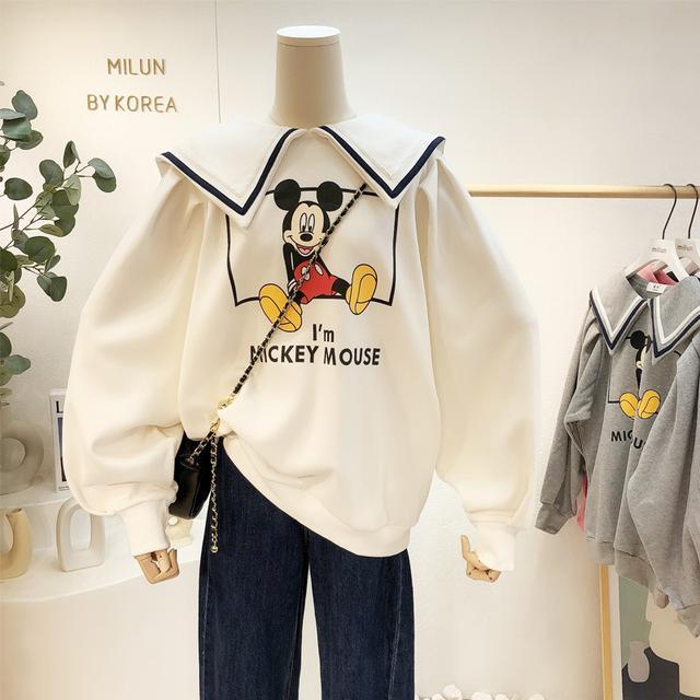 預購 海軍娃娃领卫衣女秋季韓版寬鬆設計感薄款泡泡袖上衣(C廠)