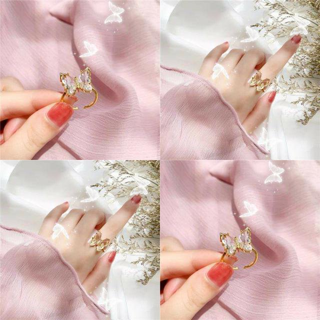 (預購S) H130 - 韓國東大門熱賣水晶蝴蝶開口戒指