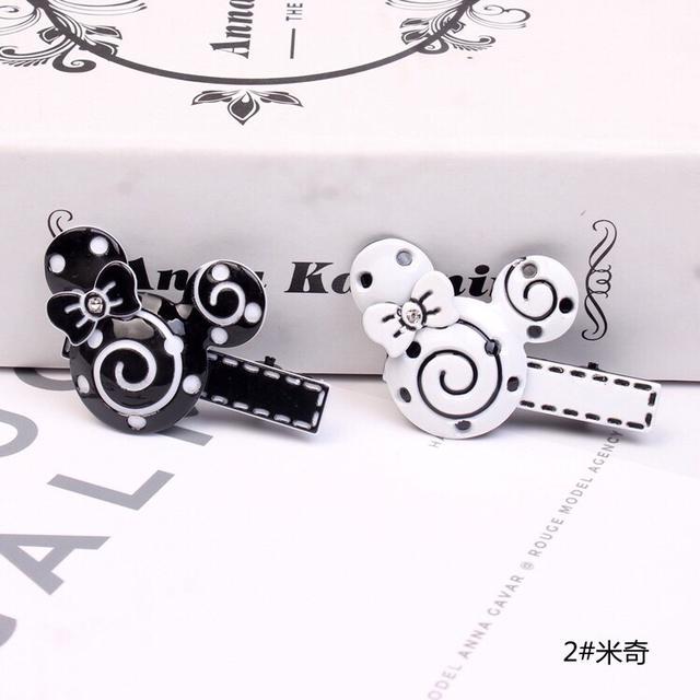 190826035韓版新款發飾亞克力造型發夾時尚黑白蝴蝶結鴨夾