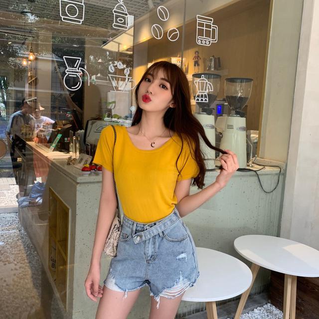 【預購】韓版純色百搭小心機短袖T恤