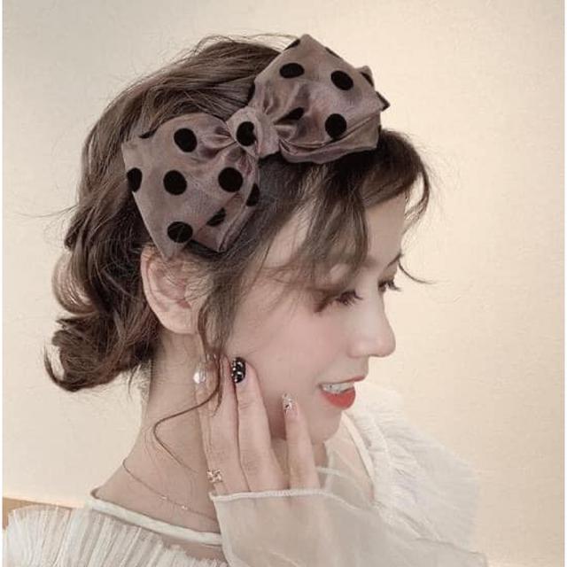 #H193 -韓國東大門波點蝴蝶結寬面髮箍