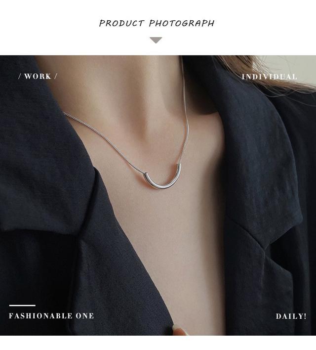 925純銀項鏈女小眾設計感簡約半圓IG風個性氣質韓版時尚鎖骨鏈子