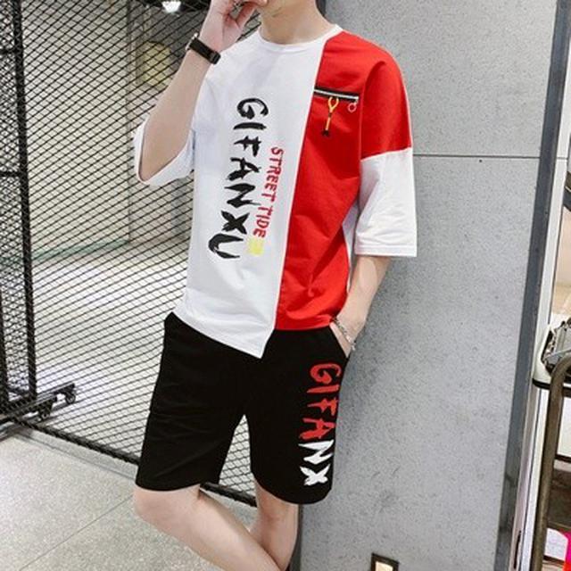 M-3XL 潮牌T恤+短褲 運動套裝(3色)28