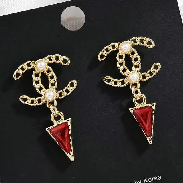 百搭s925銀針耳釘防過敏小香風珍珠耳飾女網紅CC耳環