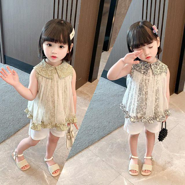 女童時髦兩件套2021年夏季新款時尚套裝兒童上學女寶寶洋氣衣服潮