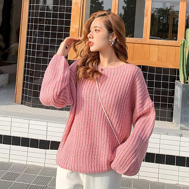 11 粗線泡泡袖毛衣女寬鬆慵懶風(三色
