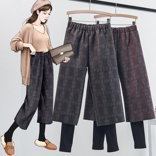 11 L-4XL 大碼 加絨假兩件格子毛呢七分褲(2色)