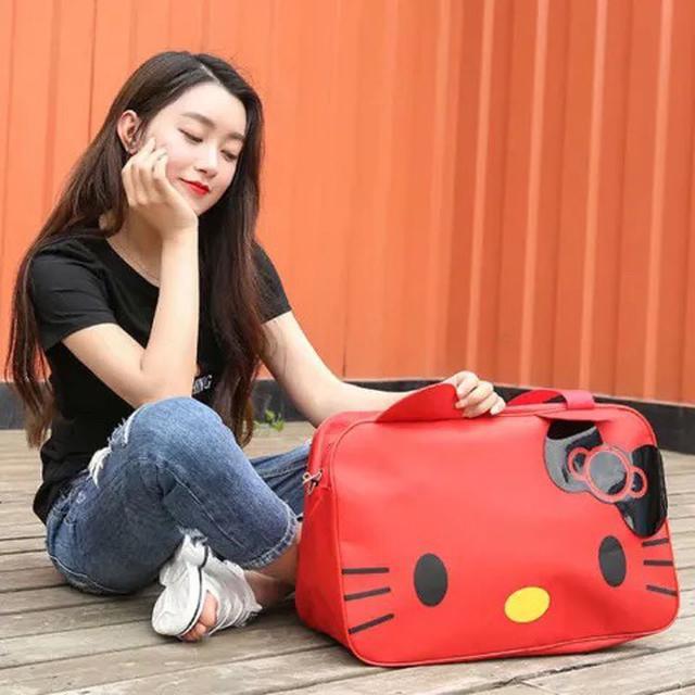 卡通KT貓手提包 牛津紡旅行包 短途收納包韓版行李包