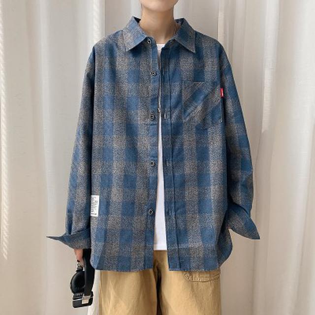 1001 純棉休閒長袖格子襯衫(2色)
