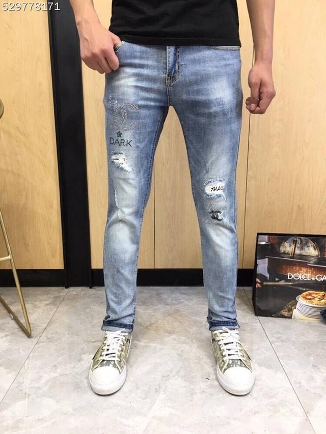 【精品牛仔長褲】CHANEL牛仔長褲褲 香奈兒小腳彈力潮牌刺繡牛仔褲