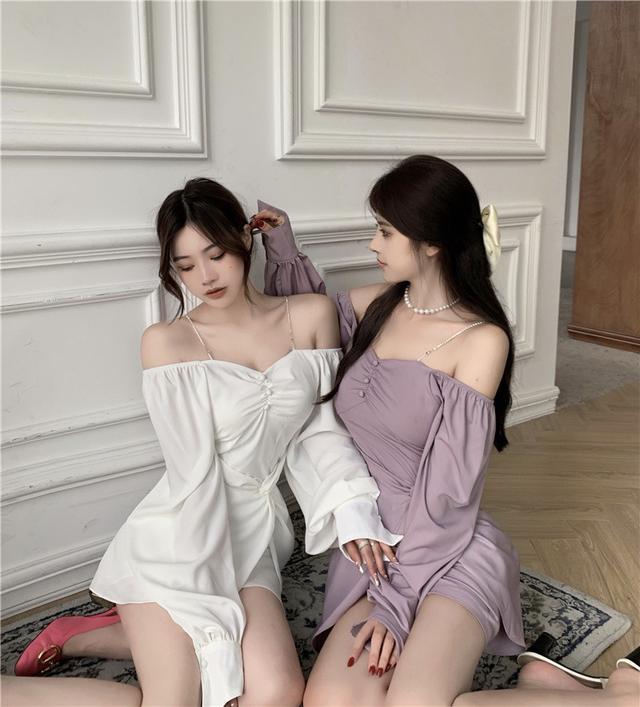 35247  法式溫柔氣質小眾連衣裙