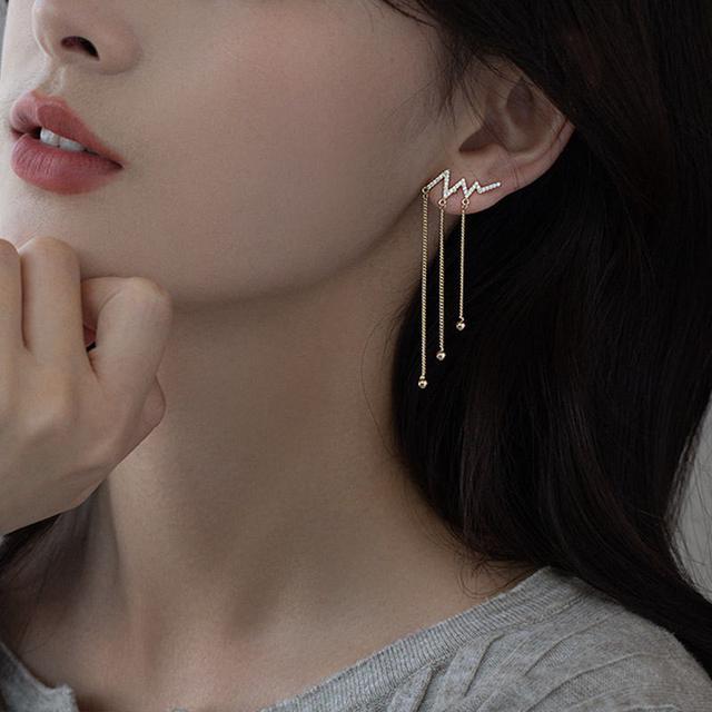 S925純銀仙氣流蘇耳環女氣質設計感夏季長款耳墜潮耳飾銀耳釘