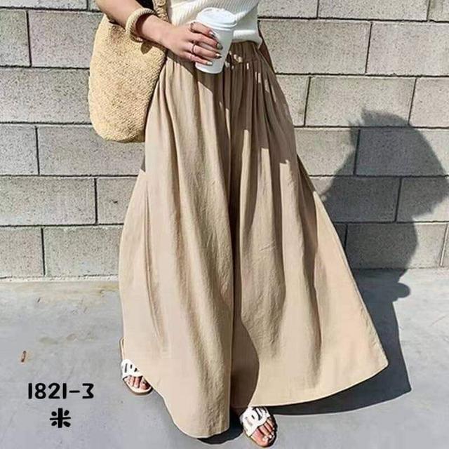 P157棉麻闊腿褲