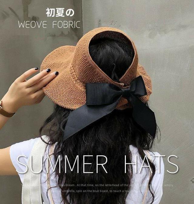 H068 - 可捲折疊防曬空頂蝴蝶結遮陽帽